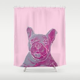 pink frenchie Shower Curtain