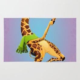 Funny giraffe on an unicycle Rug