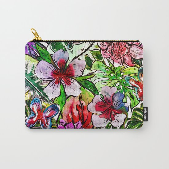 Tropical Flower Hibiscus Garden Carry-All Pouch