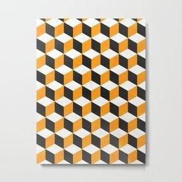 Geometric Cube Pattern  - Yellow, White, Gray Concrete Metal Print