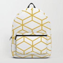 Geometric Honeycomb Lattice in Mustard Yellow and White. Modern Clean Minimalist Backpack