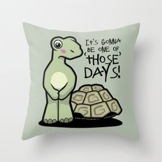 One of Those Days Naked Tortoise Throw Pillow