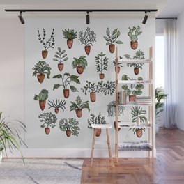 Succulent Houseplants in Terracotta Pots, Watercolor Cacti & Plant Wall Art Wall Mural