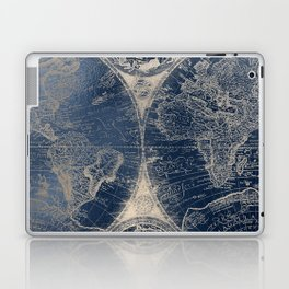 Antique World Map Gold Navy Blue Library Laptop & iPad Skin