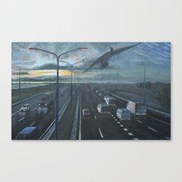 Cormorant above highway Canvas Print