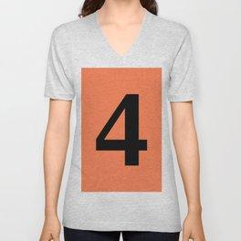 4 (BLACK & CORAL NUMBERS) Unisex V-Neck