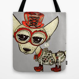 Steampunk Chihuahua gray grey Tote Bag