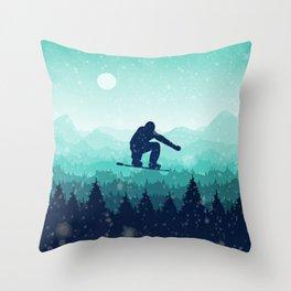 Snowboard Skyline II Throw Pillow