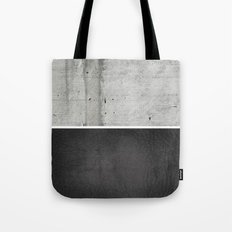 Raw Concrete and Black Leather Tote Bag