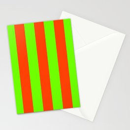 Bright Neon Green and Orange Vertical Cabana Tent Stripes Stationery Cards