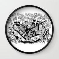 potato Wall Clocks featuring Mashed potato by Brabs