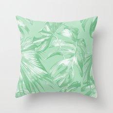Tropics Mint Green Palm Leaves Throw Pillow