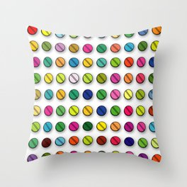 Colorful Pills Pattern Cool Modern Art Graphic Illustration Throw Pillow