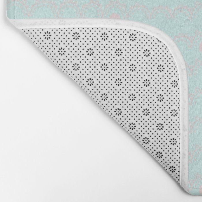 Merry aqua christmas - Funny abstract lines and dots on turquoise  backround Bath Mat