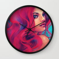alicexz Wall Clocks featuring Daughter of Triton by Alice X. Zhang