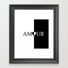 AMOUR LOVE Black And White Design Framed Art Print
