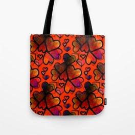 Orange Hearts Tote Bag