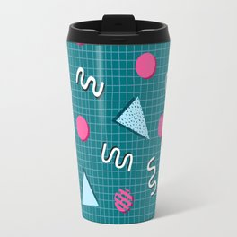 Geometric Memphis in Blue Travel Mug