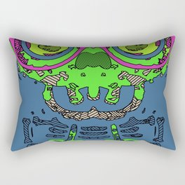 green funny skull art portrait with pink glasses and blue background Rectangular Pillow