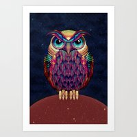 owl Art Prints featuring OWL 2 by Ali GULEC