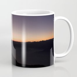 monte baldo garda lake italy drone shot aerial view sunset mountains dust path clouds Coffee Mug