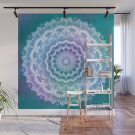 White Mandala on Teal, Purple and Navy Wall Mural