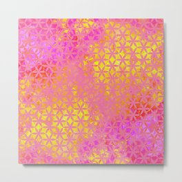 Flower of Life Paint Pattern Pink Gold Metal Print