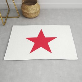 Single red star on white Rug