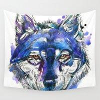 indigo Wall Tapestries featuring Indigo Wolf by Abby Diamond