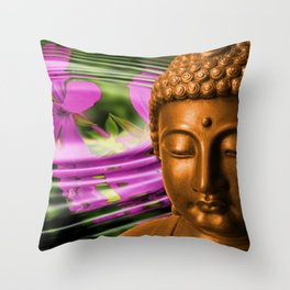 Buddha Head & Flowers in Rippling Water Throw Pillow