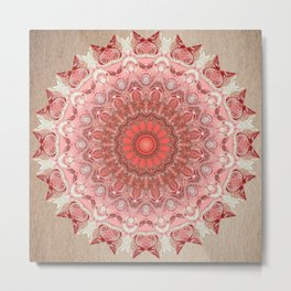 Romantic Blush Taupe Mandala Design Metal Print