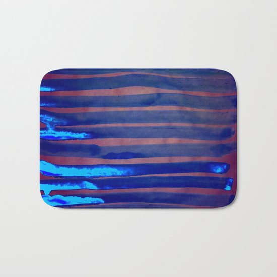 Blue Ice Lines Stripe Bath Mat