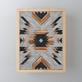 Urban Tribal Pattern No.6 - Aztec - Concrete and Wood Framed Mini Art Print