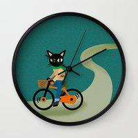 cycling Wall Clocks featuring Cycling by BATKEI (Keiko W)