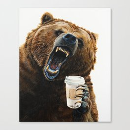 """"""" Grizzly Mornings """" give that bear some coffee Canvas Print"""