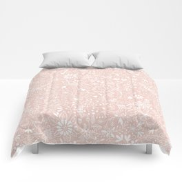 Floral Pattern - White on Pink Comforters