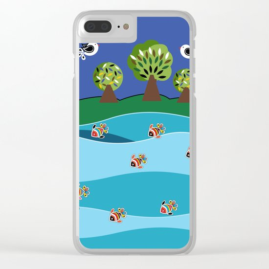 river and fish Clear iPhone Case