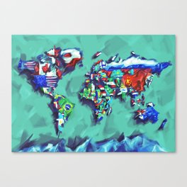 world map with flags blue and green Canvas Print