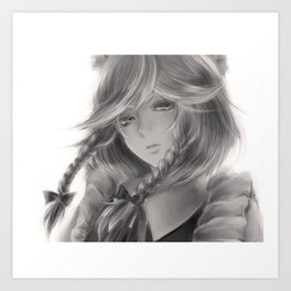 Young woman black and white Art Print