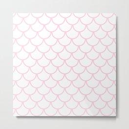Baby Pink Fish Scales Pattern Metal Print