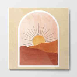 Abstract boho landscape, terracotta dunes and sun Metal Print