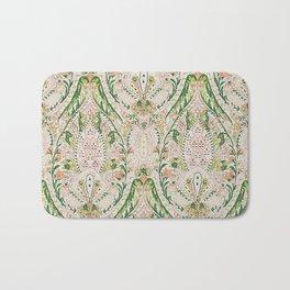 Green Pink Leaf Flower Paisley Bath Mat