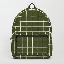Army green - green color -  White Lines Grid Pattern Backpack