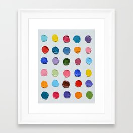 Rainbow Polka Daubs Framed Art Print