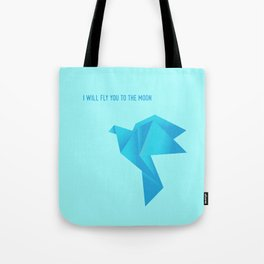 Fly Me to the Moon - Origami Blue Bird Tote Bag