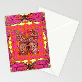 ABSTRACT MONARCH BUTTERFLY IN PINK-YELLOW Stationery Cards