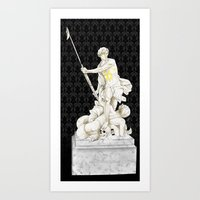 johnlock Art Prints featuring Sherlock+John - Statue of heavenliness by Clarice82