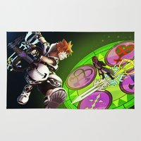 kingdom hearts Area & Throw Rugs featuring Kingdom Hearts : Sora Vs. Xehanort by Paul Giovinco
