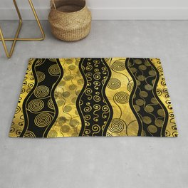 Luxury  Black and Gold African Pattern Rug