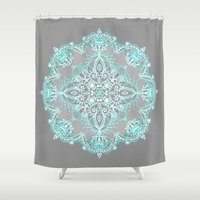 lace Shower Curtains featuring Teal and Aqua Lace Mandala on Grey by micklyn